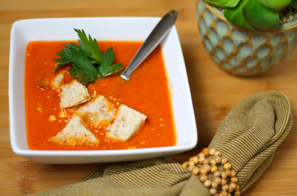 Delicious tomato soup served with freshly made french bread croutons.